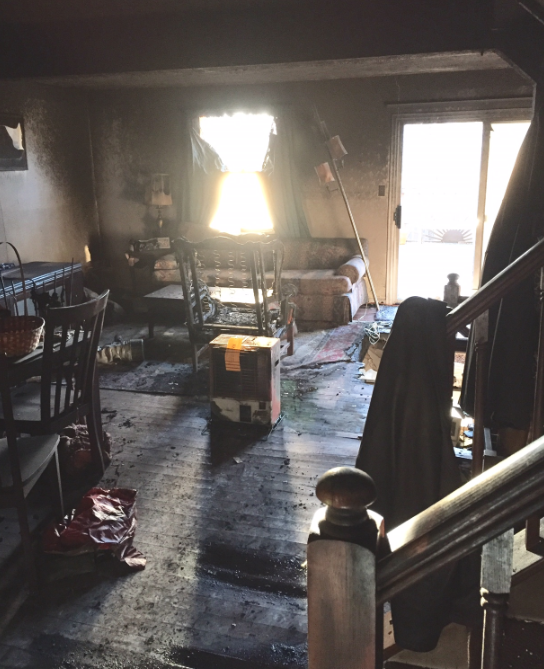 Modern Remodeling fire destroyed living room