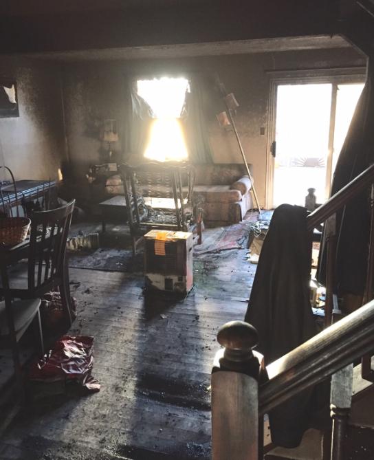 Modern Remodeling fire destroyed living room