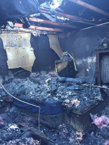 Completely destroyed bedroom from house fire Modern rebuilt