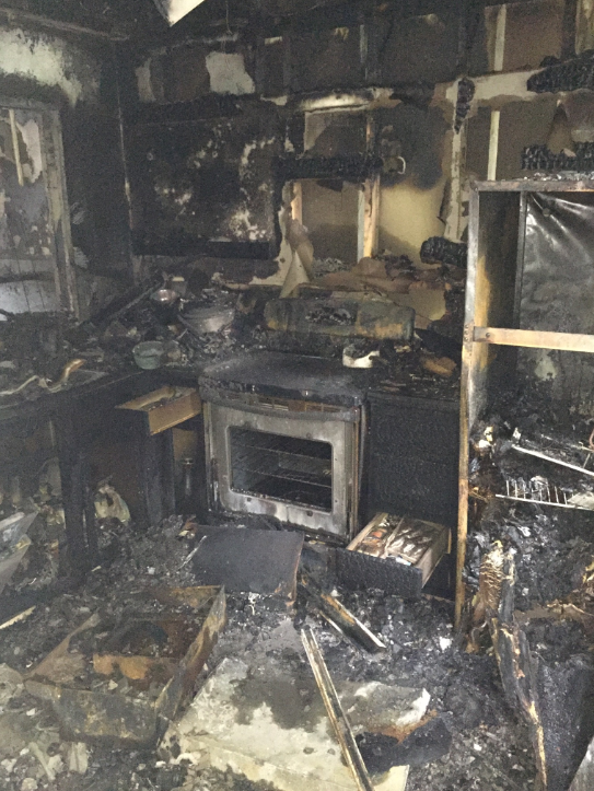 Completely destroyed kitchen from house fire