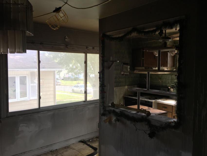Fire damage kitchen before and after modern remodeling